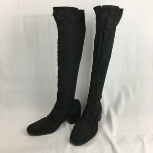 Ann Demeulemeester Toggle Knee High Suede Boots 37